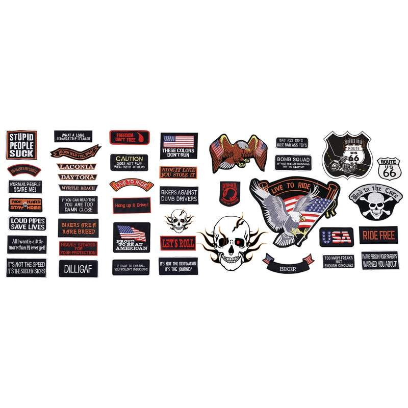 Live To Ride 42 PC Embroidered Motorcycle Patch Set