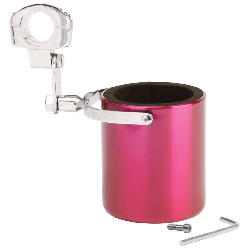 Pink Stainless Steel Motorcycle Cup Holder with Adjustable Clamp