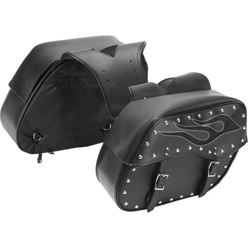 Universal Fit 2pc PVC Motorcycle Saddlebag Set with Flame Design