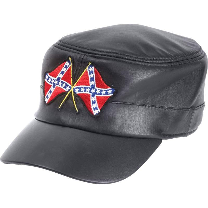 Solid Genuine Black Leather Cap with Rebel Flags Patch on Front