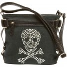Fleur de Lune Fashion Handbag with Rhinestone Skull and Pockets