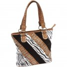 Ladies Fashion Zebra Purse with Exterior Cell Phone Pouch