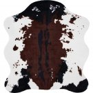 "Classic Safari 56"" x 61"" Cow Print Polyester Rug with Comfort Padding"