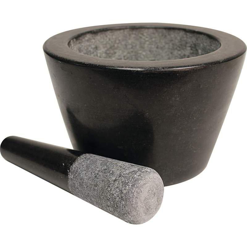 """HealthSmart 8"""" Deep Dish Granite Mortar and Pestle"""