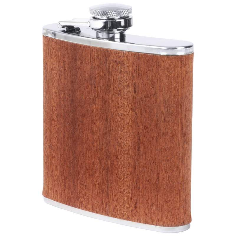 Maxam 6oz Stainless Steel Flask with Real Sapele Wood Wrap