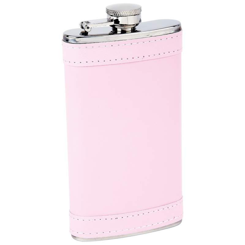 Maxam 6oz Stainless Steel Flask with Screw-Down Cap and Pink Wrap