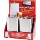 Maxam 6pc 64oz Stainless Steel Flasks in Countertop Display