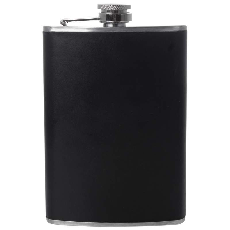 Maxam 8oz High Quality Stainless Steel Flask with Black PVC Wrap