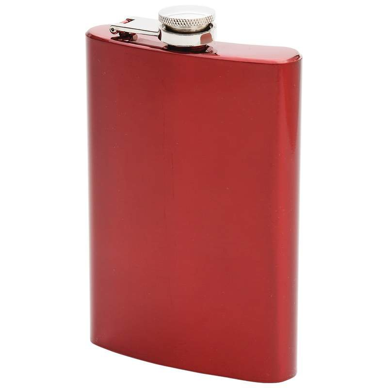 Maxam 8oz Stainless Steel Flask with Red Metallic Painted Finish