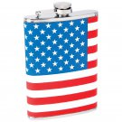 Maxam 8oz Stainless Steel Screw Down Cap Flask with American Flag Wrap