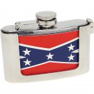 SURGICAL STAINLESS STEEL 3OZ BELT BUCKLE FLASK WITH REBEL FLAG