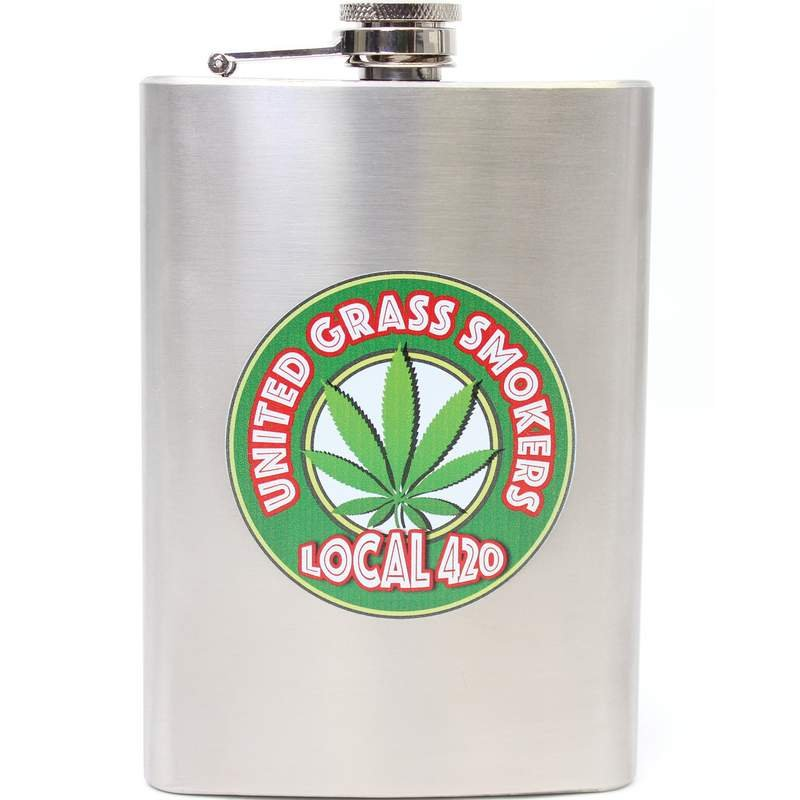 UNITED GRASS SMOKERS LOCAL 420 8oz Stainless Steel Flask by Maxam