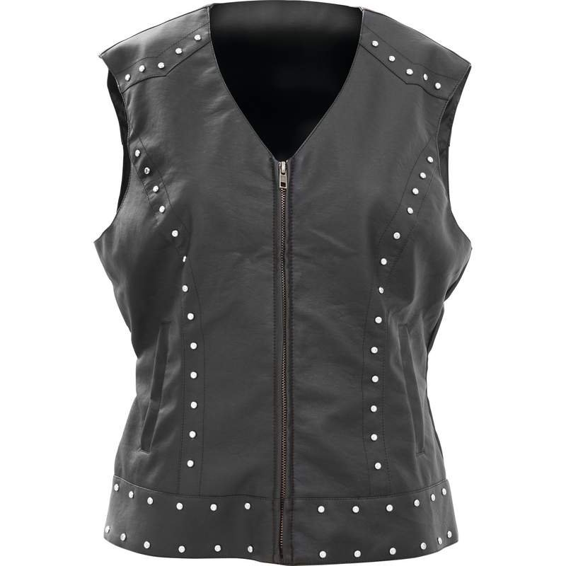 Ladies Tailored Faux Leather Studded Vest - Size X-Large