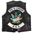 "Buffalo Leather ""SONS OF CANNABIS"" Vest with Laced Sides - Large"
