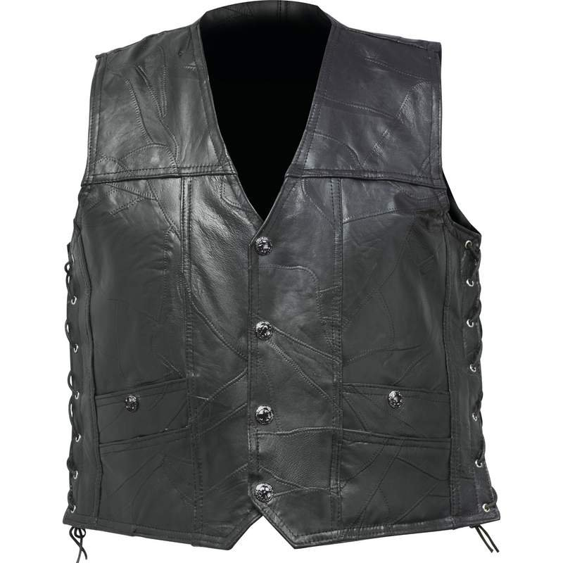 Buffalo Leather Concealed Carry Vest with Lace-Up Sides - X-Large