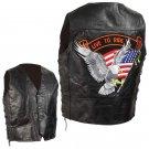 Diamond Plate Black Pebble Grain Leather Biker Vest - Size 4X