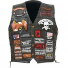 Diamond Plate Rock Design Buffalo Leather Biker Vest - Size Medium