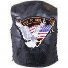 Diamond Plate Rock Design Genuine Buffalo Leather Vest with Eagle Patch - Size Large