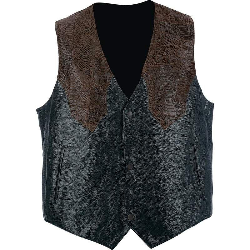 Giovanni Navarre Grain Leather Western-Style Vest - Size Medium