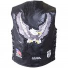 Rock Design Genuine Buffalo Leather Vest with Patches - Size Medium