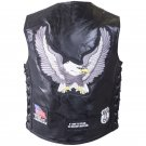Rock Design Genuine Buffalo Leather Vest with Patches - Size 2X