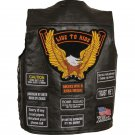 Rock Design Leather Concealed Carry Vest with Patches - Size 4X