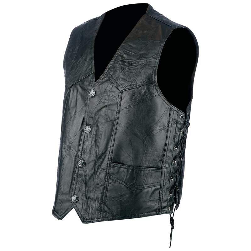 Rocky Ranch Hides Rock Design Black Hog Leather Biker Vest - Size 2X