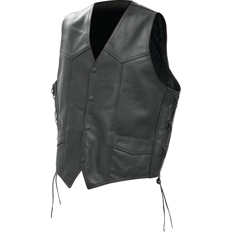 Solid Buffalo Leather Vest with Pockets and Laced Sides - X-Large