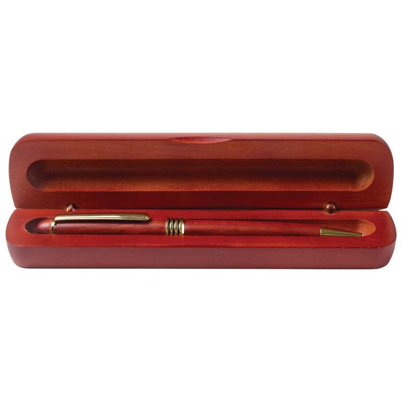 Twist-Action Black Ink Ballpoint Pen in a Rosewood Finish Box