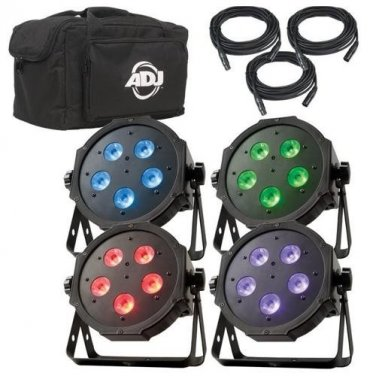 ADJ Products MEGA FLAT TRI PAK PLUS WITH DMX Cables and Padded Soft Bag