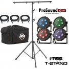 ADJ Products MEGA FLAT TRI PAK Bright Tri Colored LED + Free Tall Tripod Stand With 4-Bolt T-Bar