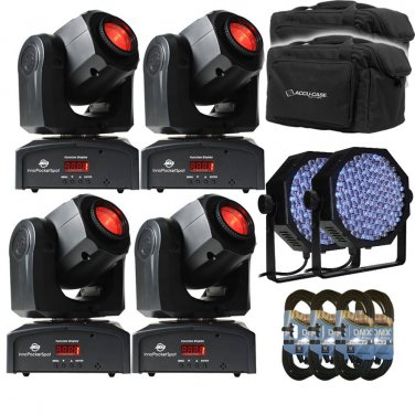 (4) American DJ Inno Pocket Spot LED. W/ bags + DMX 15FT + 2 Talent LP64LED