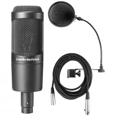 Audio Technica AT2035 w/Shock Mount, Pop Filter, Mic Cable, and Mic Stand