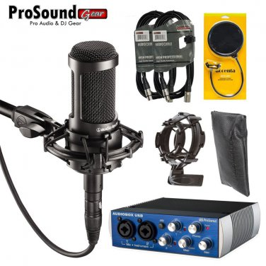 Audio-Technica AT2035 Large  with  AudioBox USB, Shock Mount,  Pop FIlter, Mic Bag and XLR Cables