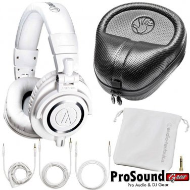Audio-Technica ATH-M50xWH (White) Free Cables, Bag and Slappa Case (SL-HP-07)
