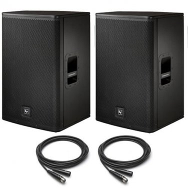 """EV Electro-Voice ELX112P 12"""" Powered PA Speakers PAIR (2) 25' XLR Cables ELX NEW"""