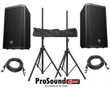 "Electro-Voice ZLX-12P 12"" 2-Way / (2) Xlr to Xlr Cables 20ft ea / (Pair) Speaker Stand w/ Bag /"