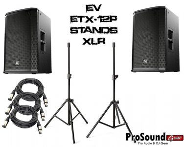 """Electro-Voice ETX-12P 12"""" Two-Way W/ Speaker Stands w/ Bag and (2) PSC XLR Cables 20ft"""