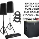 "Electro-Voice ZLX-12P 12"" 2-Way (1) ZLX118P Subwoofer (2) Xlr to Xlr Cables 20ft ea / Stand w/ Bag"