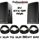 "Electro-Voice ETX-12P 12"" (Pair) - Free (4) PSC XLR to XLR Cables 50FT ea"