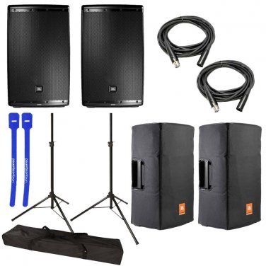 """JBL EON615 Powered 15"""" 2-Way System Pair w/ Tripod Speaker Stands, Covers, XLR Cables & Cable Ties"""