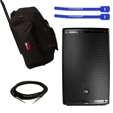 "JBL EON615 Powered 15""  w/ Gator GPA-715 Rolling Speaker Bag, XLR Cable & Cable Ties"