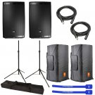 "JBL EON615 Powered 15"" 2-Way System w/ Tripod Stands, Convertible Covers, XLR Cables & Cable Ties"