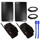 "JBL EON615 15"" Pair w/ Gator GPA-715 Rolling Speaker Bag Pair, XLR Cables & Cable Ties"