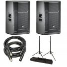 "JBL PRX715 15"" 2-WayFloor Monitor Pair, Speaker Tripod Stand Pair w/ Bag & XLR Cables"