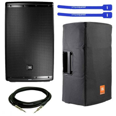 """JBL EON615 Powered 15"""" 2-Way System Speaker w/ Padded Cover, XLR Cable & Cable Ties"""