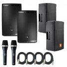 JBL EON615 Speakers w/ Bags & AKG D5C Microphones