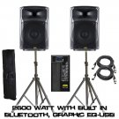 "(Pair) KALO 215ABT 15"" Active/Powered DJ/PA (2) XLR CABLE 15FT - (2) Heavy Speaker Stand W/ Bag"
