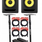 "(2) KRK RP8-G3 Rokit Powered 8"" Powered Studio Monitors+Stands+MOPAD+4 Cables"