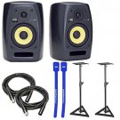 KRK VXT6 VXT 6 Bi-Amp Active Studio Monitor Pair w/ Stands, XLR Cables & Cable Ties
